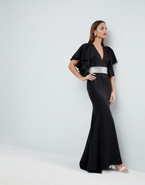 photo Deep Plunge Scuba Ruffle Sleeve Maxi Dress with Detachable Belt by ASOS EDITION, color Black - Image 4