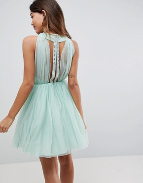 photo Embellished Trim Tulle Mini Dress by ASOS, color Mint - Image 2
