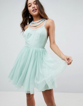 photo Embellished Trim Tulle Mini Dress by ASOS, color Mint - Image 1