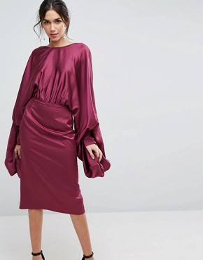 photo Extreme Sleeve Satin Midi Pencil Dress by ASOS, color Plum - Image 1