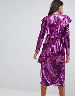 photo Embellished Deconstructed All Over Sequin Midi Dress by ASOS, color Pink - Image 2