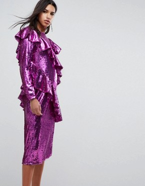 photo Embellished Deconstructed All Over Sequin Midi Dress by ASOS, color Pink - Image 1
