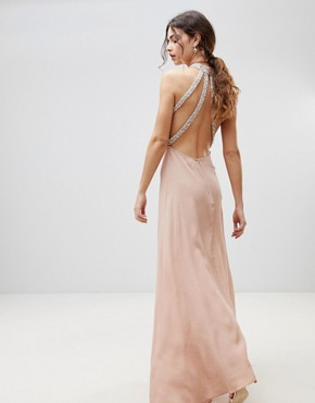 photo Embellished Trim Backless Maxi Dress by ASOS, color Nude - Image 2