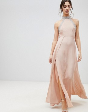 photo Embellished Trim Backless Maxi Dress by ASOS, color Nude - Image 1