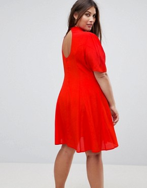 photo Chinoiserie Embroidered Mini Dress by ASOS CURVE, color Red - Image 2