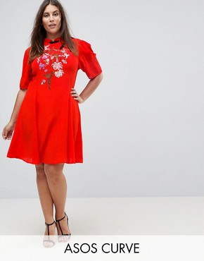photo Chinoiserie Embroidered Mini Dress by ASOS CURVE, color Red - Image 1
