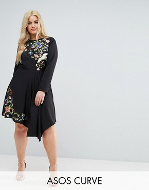 photo Pretty Embroidered Skater Dress by ASOS CURVE, color Black - Image 1