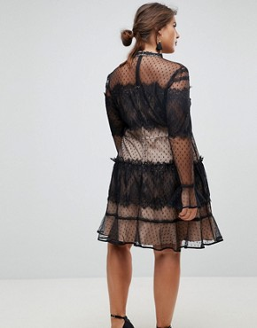 photo Lace Dobby Patchwork Long Sleeve Mini Dress by ASOS CURVE, color Black/Nude - Image 2