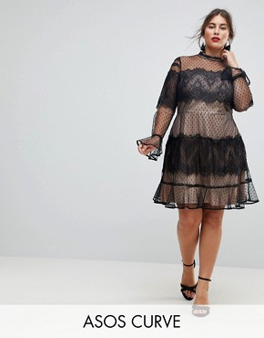 photo Lace Dobby Patchwork Long Sleeve Mini Dress by ASOS CURVE, color Black/Nude - Image 1