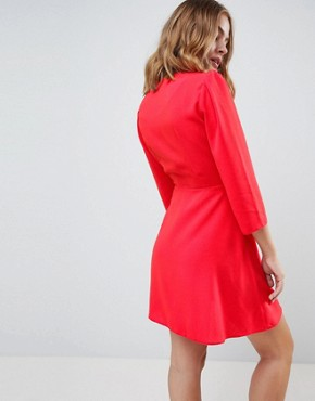 photo Ultimate 40's Mini Tea Dress with Buttons by ASOS DESIGN Petite, color Red - Image 2