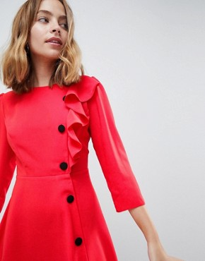 photo Ultimate 40's Mini Tea Dress with Buttons by ASOS DESIGN Petite, color Red - Image 3