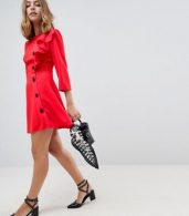 photo Ultimate 40's Mini Tea Dress with Buttons by ASOS DESIGN Petite, color Red - Image 4