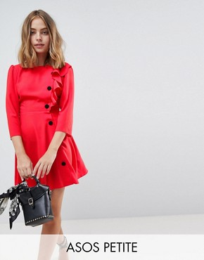 photo Ultimate 40's Mini Tea Dress with Buttons by ASOS DESIGN Petite, color Red - Image 1