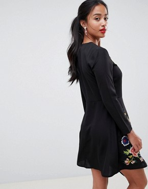 photo Pretty Embroidered Skater Dress by ASOS PETITE, color Black - Image 2