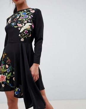 photo Pretty Embroidered Skater Dress by ASOS PETITE, color Black - Image 3
