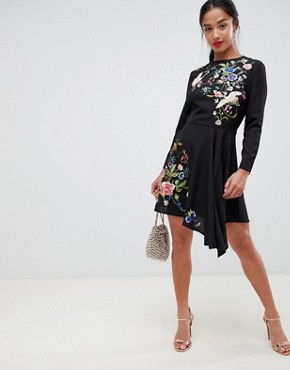 photo Pretty Embroidered Skater Dress by ASOS PETITE, color Black - Image 4