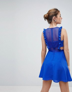 photo Lace Pinafore Mini Dress by ASOS DESIGN Petite, color Blue - Image 2