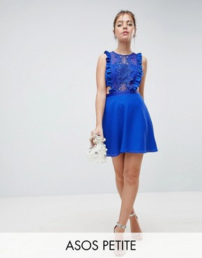 photo Lace Pinafore Mini Dress by ASOS DESIGN Petite, color Blue - Image 1