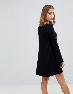 photo Mini Swing Dress with Seam Detail and Trumpet Sleeve by ASOS PETITE, color Black - Image 2