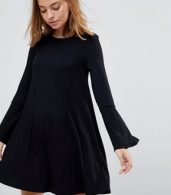 photo Mini Swing Dress with Seam Detail and Trumpet Sleeve by ASOS PETITE, color Black - Image 3