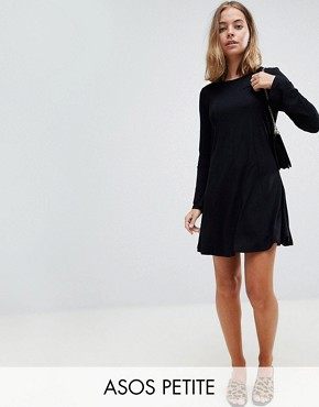 photo Mini Swing Dress with Seam Detail and Trumpet Sleeve by ASOS PETITE, color Black - Image 1