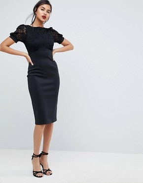 photo Midi Pencil Dress with Lace Top and Bow Back by ASOS, color Black - Image 2