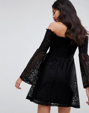 photo Bardot Shirred Lace Dress with Trumpet Sleeve by ASOS, color Black - Image 2