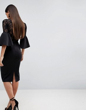 photo Lace Top Fluted Sleeve Bodycon Midi Dress by ASOS, color Black - Image 2