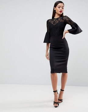 photo Lace Top Fluted Sleeve Bodycon Midi Dress by ASOS, color Black - Image 1