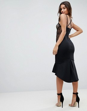 photo Lace Cupped Pephem Strappy Bodycon Dress by ASOS, color Black - Image 2