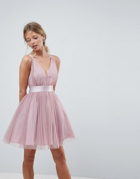 photo Tulle Mini Prom Dress with Ribbon Ties by ASOS PREMIUM, color Rose Pink - Image 2