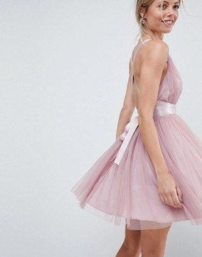 photo Tulle Mini Prom Dress with Ribbon Ties by ASOS PREMIUM, color Rose Pink - Image 1
