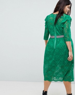 photo Midi Lace Tea Dress with Sports Tipping by ASOS CURVE, color Green - Image 2