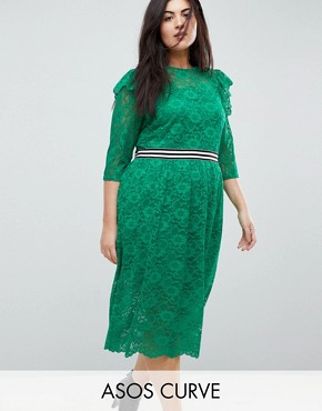 photo Midi Lace Tea Dress with Sports Tipping by ASOS CURVE, color Green - Image 1