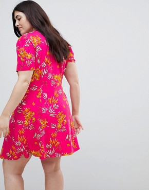 photo Mini Tea Dress with High Neck in Pink Bamboo Print by ASOS CURVE, color Multi - Image 2