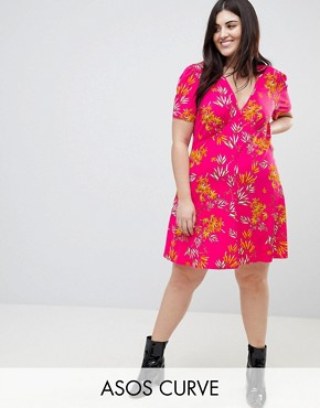 photo Mini Tea Dress with High Neck in Pink Bamboo Print by ASOS CURVE, color Multi - Image 1