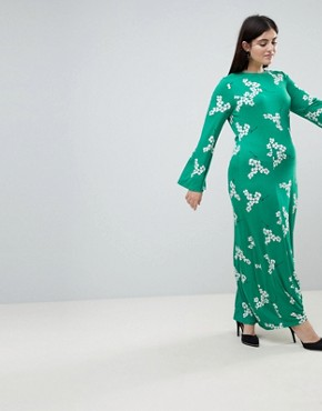 photo Maxi Tea Dress with Open Back in Green Floral by ASOS CURVE, color Multi - Image 2