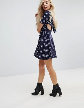 photo Mini Tea Dress with Tie Back in Polka Dot by ASOS PETITE, color Navy/White - Image 2
