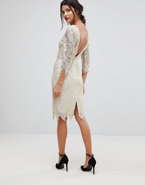 photo Sequin Crochet 3/4 Sleeve Pencil Dress by Paper Dolls, color Cream/Gold - Image 2