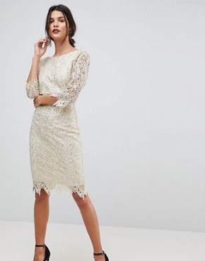 photo Sequin Crochet 3/4 Sleeve Pencil Dress by Paper Dolls, color Cream/Gold - Image 1