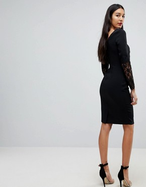 photo Lace Sleeve Pencil Dress by Paper Dolls Tall, color Black - Image 2