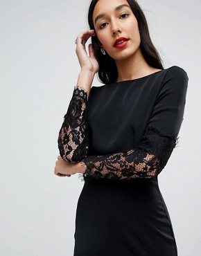 photo Lace Sleeve Pencil Dress by Paper Dolls Tall, color Black - Image 3
