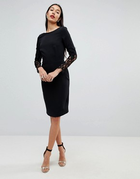 photo Lace Sleeve Pencil Dress by Paper Dolls Tall, color Black - Image 4