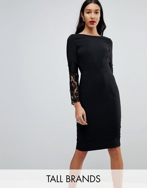 photo Lace Sleeve Pencil Dress by Paper Dolls Tall, color Black - Image 1