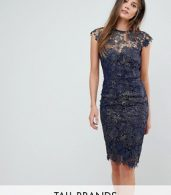 photo Metallic Crochet Sleeveless Plunge Back Pencil Dress by Paper Dolls Tall, color Navy/Gold Metallic - Image 1