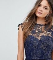 photo Metallic Crochet Sleeveless Plunge Back Pencil Dress by Paper Dolls Tall, color Navy/Gold Metallic - Image 3