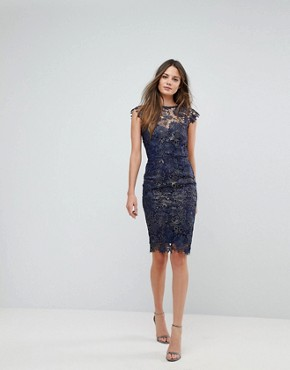 photo Metallic Crochet Sleeveless Plunge Back Pencil Dress by Paper Dolls Tall, color Navy/Gold Metallic - Image 4