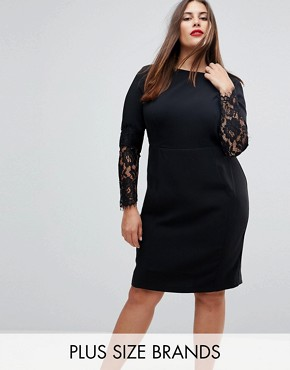 photo Lace Sleeve Pencil Dress by Paper Dolls Plus, color Black - Image 1