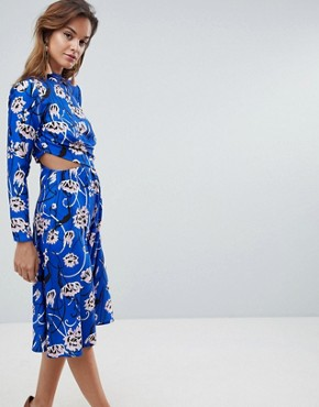 photo Bright Floral High Neck Cut Out Midi Dress by ASOS, color Multi - Image 1