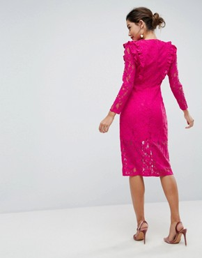 photo Lace Ruffle Midi Column Dress by ASOS, color Hot Pink - Image 2